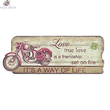 Wooden wall decor `Red Moto`