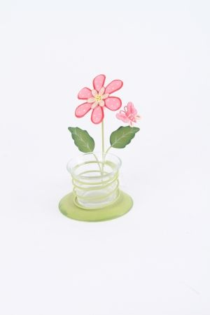 Tea light holder Pink flower